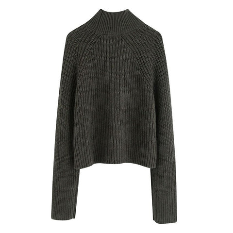 Turtleneck  Short Length Patched Pocket Wide Casual Sweaters