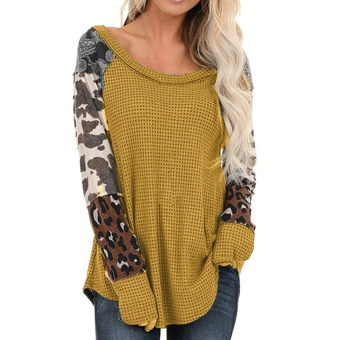 Leopard Print Patchwork Long Sleeve Pullover Sweaters
