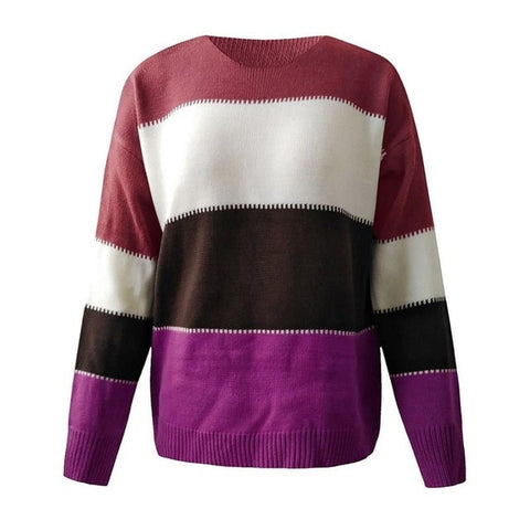 Patchwork O-Neck  Sweaters