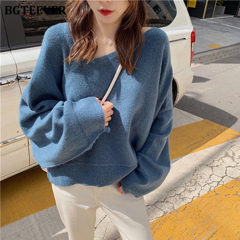 Casual Irregular V-neck Sweater