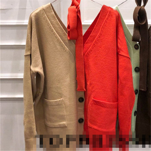 cardigan v neck single breasted patchwork color lace up knitted coat sweater