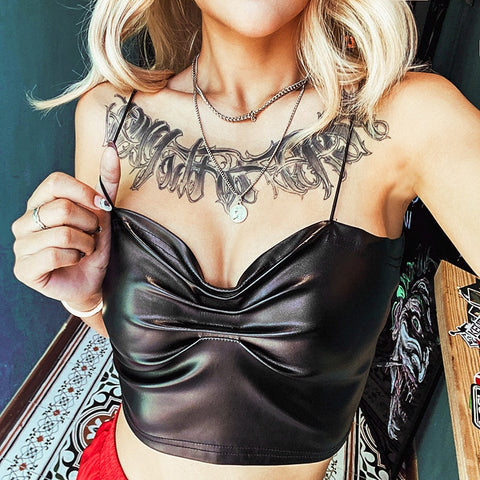 Sexy Black PU Leather Ruched Spaghetti Straps Crop Tops