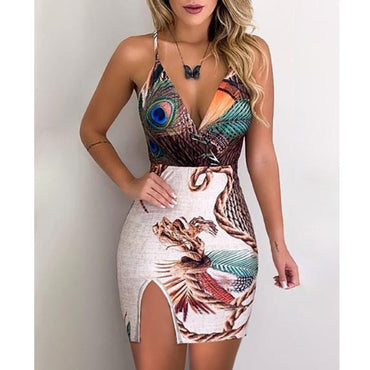 Peacock Feather Print Thigh Slit Slip Dress