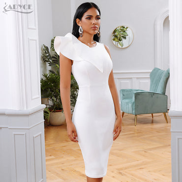 White Ruffles  Elegant Celebrity Runway Party Dress