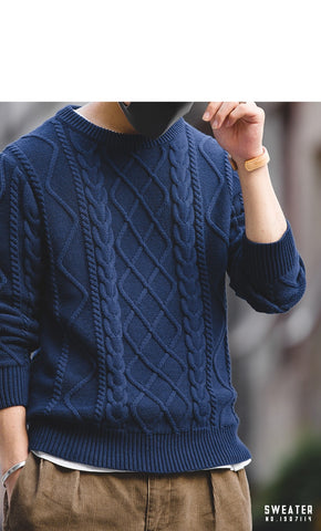 Crew Neck Cable Knitted Heavy Weight Warm Pullover Sweater