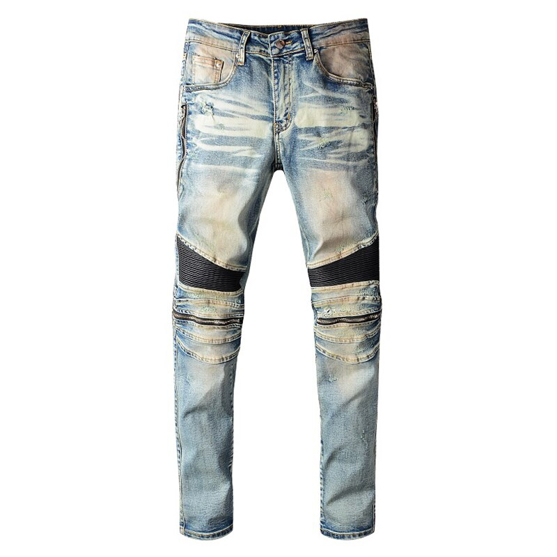 PU leather patchwork biker jeans