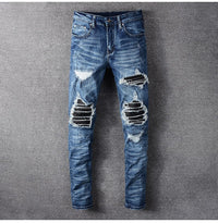 PU leather patchwork ripped biker jeans