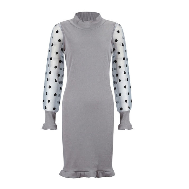 Casual Dot Printed Mesh Patchwork Long Sleeve  Mini Dress