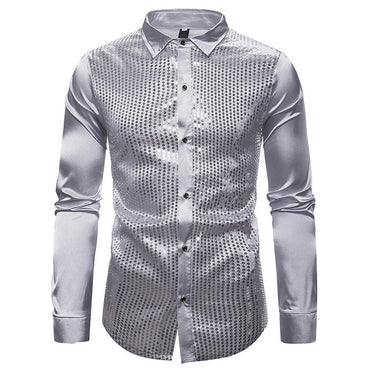Smooth Silk Satin Men Long Sleeve Shiny Glitter  Dress Shirt