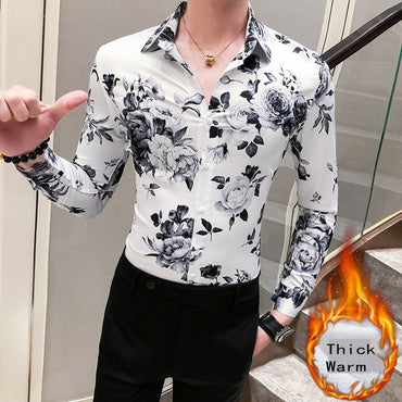 Thick Warm Long Sleeve Casual Floral  Dress Shirt