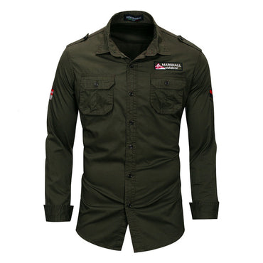 Long Sleeve Lapel Shirt Pure Cotton Outdoors Military Leisure Time Pocket Dress Shirts
