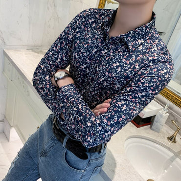 Streetwear Top Camisa Social Masculina Manga Longa Retro Brand Casual Dress Shirts
