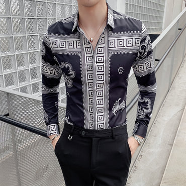 Vintage Dragon Print Dress Shirts