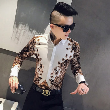 Streetwear Digital Print Slim Fit Party Tuxedo Dress Shirts