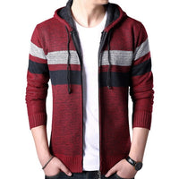 Slim Fit Stand Collar Zipper Striped  Hooded Warm Knitwear Long Sleeve Knitted  Hoodie Sweater