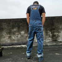 Denim Overalls Jumpsuit Multi-pocket strap Straight pants Blue jeans