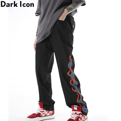 Dark Icon Flame Embroidery Jeans