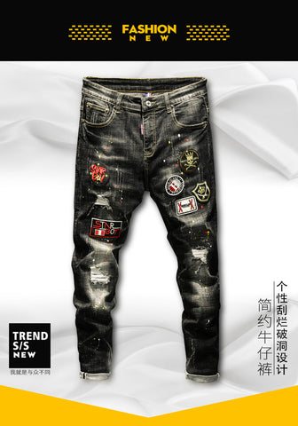 punk style high quality black stretch slim hole patch jeans