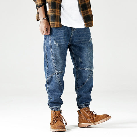 Loose Fit Spliced Designer Denim Cargo Jeans