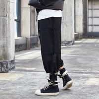 Black Ribbon Splice Loose Casual Pants