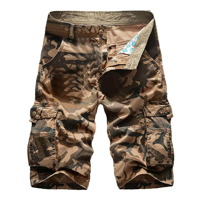 Cargo Casual Pure Color Outdoors Pocket Beach Work Trouser Cargo Shorts
