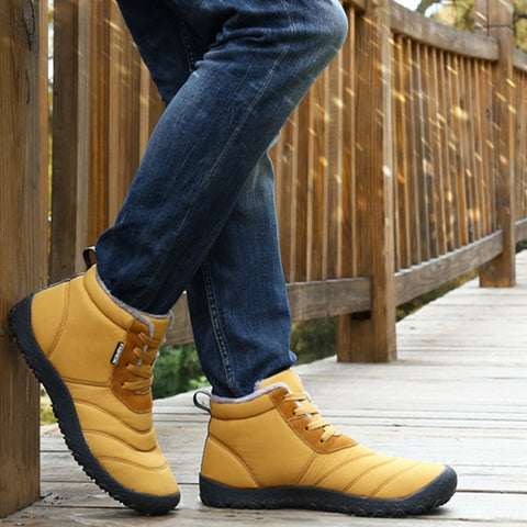 Outdoor Shoes With Fur Warm Rubber Ankle Boots