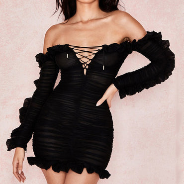 Off-Shoulder Bandage Bodycon Dress