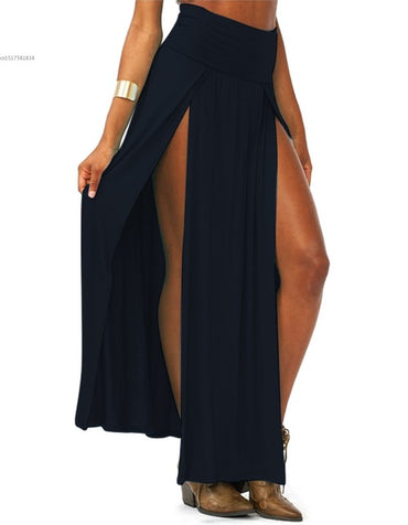 Double Slits  Solid Long Maxi Skirt
