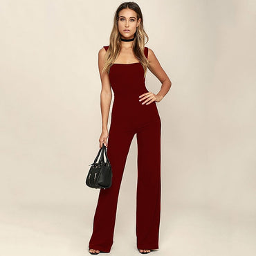 Sexy Sleeveless Overalls  Black White Flare Trouser Casual Workout Jumpsuit