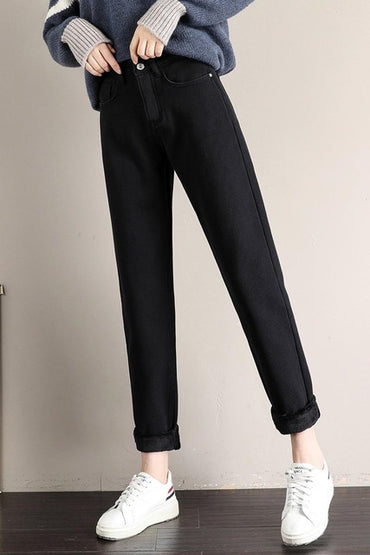 Straight Thicken Warm Jeans Casual Velvet Jeans