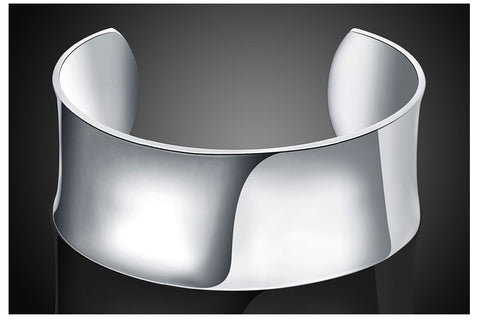 Silver Jewelry Simple Smooth Open Bracelet & Bangle