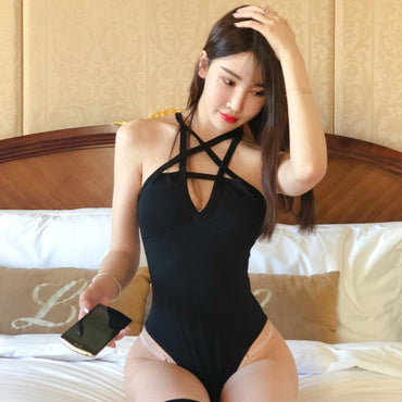 Backless Cross Strap Front Design Hollow Out Pentagram Bodysuit