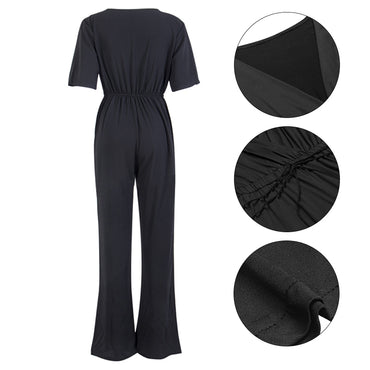 Short Sleeve V Neck Casual Playsuit Overalls jumpsuits