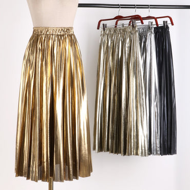 Gold Silver Long Striped Elasticity Pleated Skirts