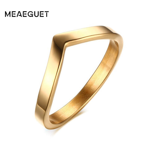 Simple V Shape Stainless Steel Fashion Jewelry Rings