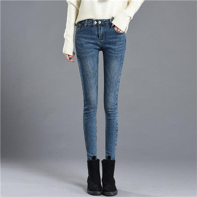 Mid Waist Skinny Sexy Stretch 72% Cotton Blends Denim Pencil Jeans
