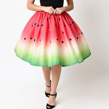 Retro Lady Fruit Floral Printed High Waist Pleated Midi Skirt