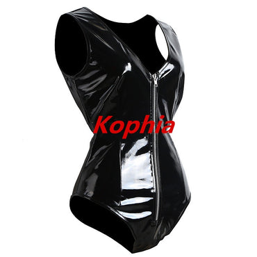 Faux Leather Catsuit Erotic Wet Look Bodycon Bodysuit