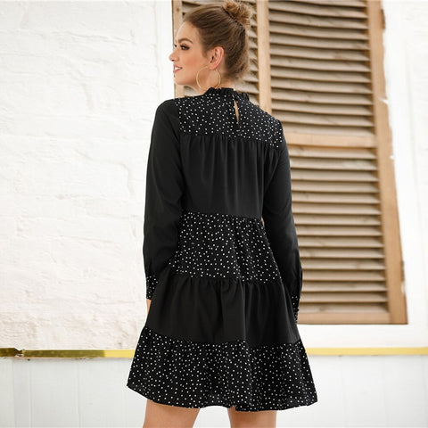 Black Contrast Polka Dot Frill Mock Neck Babydoll Dress