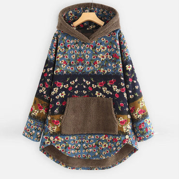 Fluffy Fleece warm Patchwork Floral Ethnic style Long Sleeve Pockets hoodies