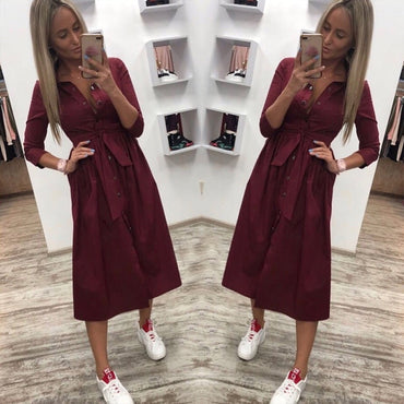 Casual Solid Button Sashes Dress
