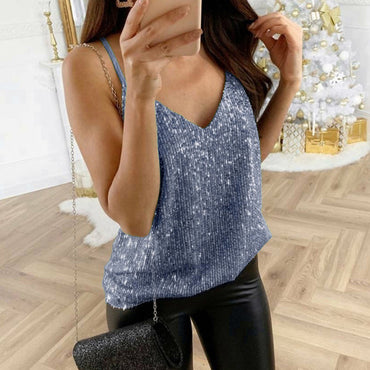 Sequin Glitter Strappy Tank Tops