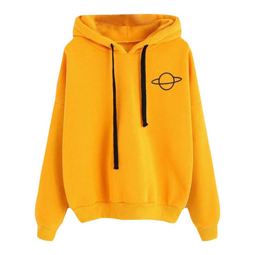 Loose yellow Elastic rope hoodies Planet Printed sweatshirt Casual Pullover hoodies