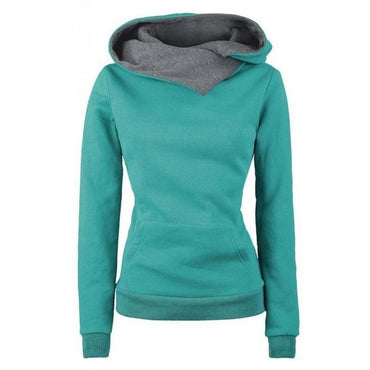 Chic Design  Casual  Lapel Solid Hooded Sweatshirts  Pullovers Turn-down Collar Hoodies