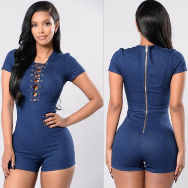 Denim Zipper Playsuit Bodycon Party Rompers