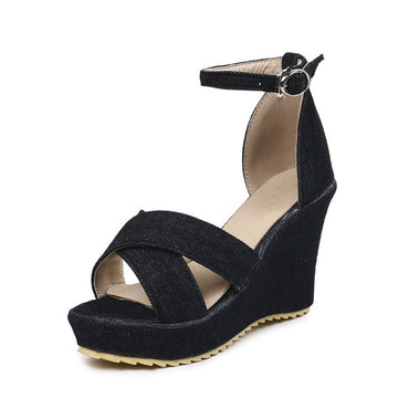 simple buckle 10cm comfortable wedges sandals