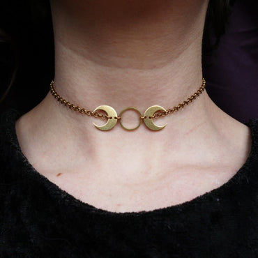 Brass Moon Choker Necklace