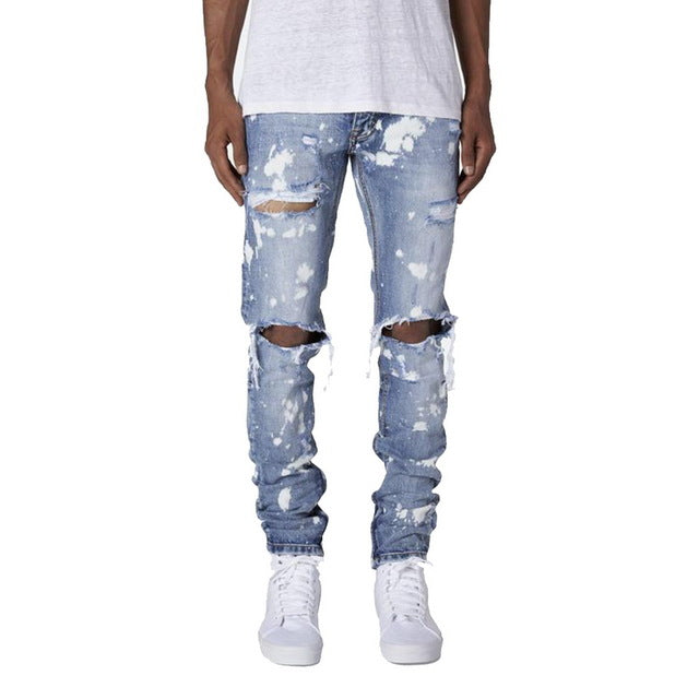 Streetwear Calca Masculina Ripped Jeans