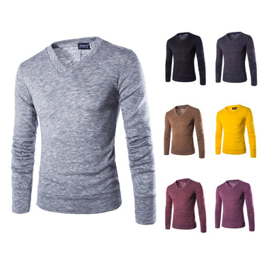 V-Neck Solid Color Slim Fit Pullover Casual Thin Sweater
