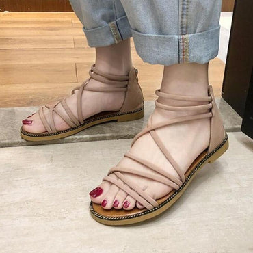 Casual Rome Solid Cross Straps Open Toe Beach Sandals